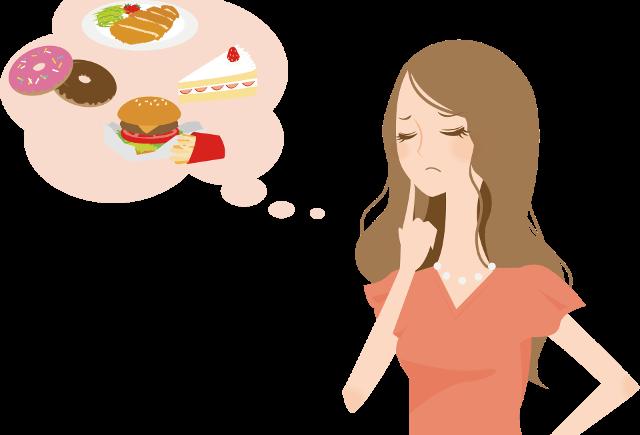 食べ物の誘惑に悩む女性のイラスト
